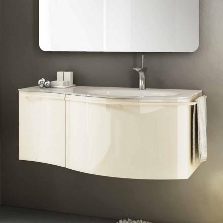 Moderner Hängeschrank mit Waschbecken in beige lackiertem Holz Gioia 1