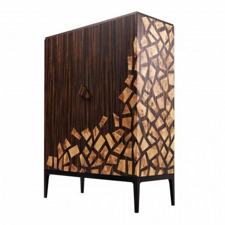Design Barmöbel mit 2 Türen Grilli Zarafa in Italien hergestellt, aus Ebenholz
