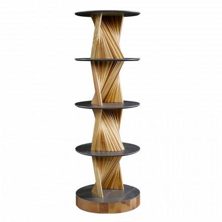 Luxus-Holzschrank mit runden Steinzeugregalen Made in Italy - Aspide