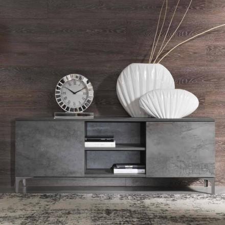 Moderner Fernsehschrank aus Melaminholz mit zwei Türen Made in Italy - Clemente