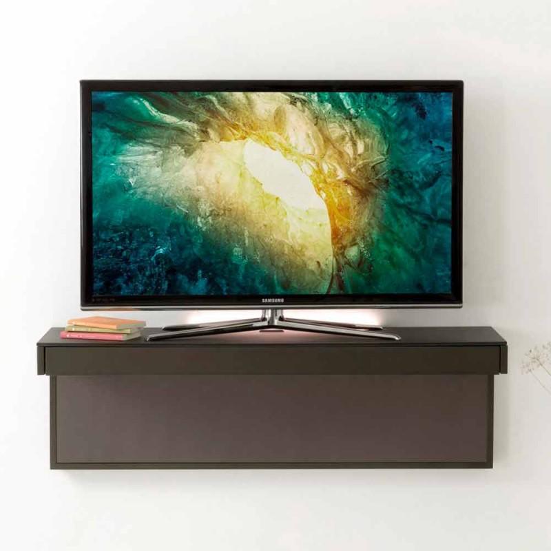 Abgehängter TV-Ständer mit Satin-Kristallplatte Hergestellt in Italien - Americio