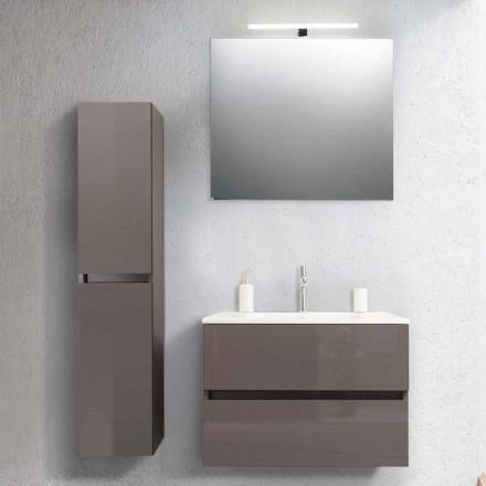 Badezimmerschrank 80 cm, Waschbecken, Mirron und Ecru Säule - Becky