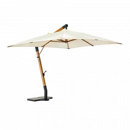 Sonnenschirm aus Holz und Ecru 3x4 Polyester, Homemotion - Passmore