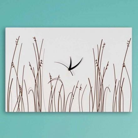 Rechteckige moderne Design-Wanduhr aus weißem Holz - filigran