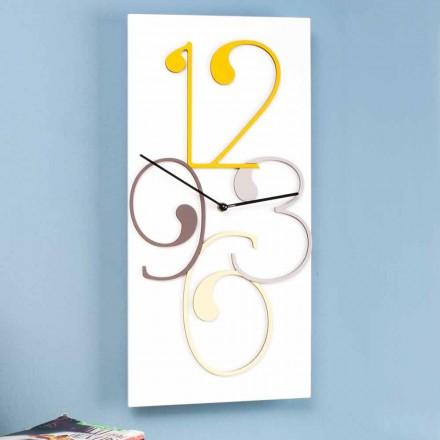 Wanduhr farbiges und weißes Holz rechteckiges modernes Design - Mathematik