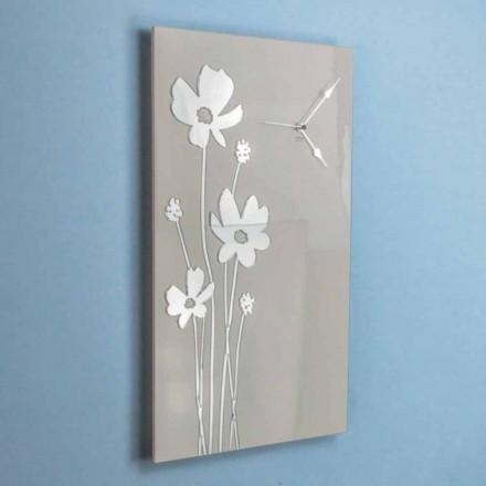 Rechteckige Wanduhr im Braun- und Plexiglas-Design - Silene