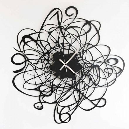 Moderne Design Wanduhr aus Eisen in schwarz oder weiß Made in Italy - Baldo