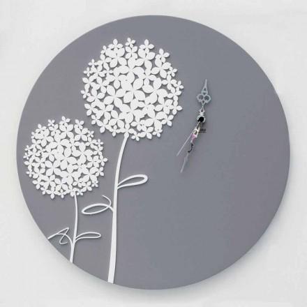 Runde dekorierte graue Holzwanduhr des modernen Designs - Kopfbrause