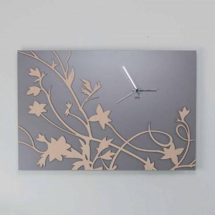 Moderne graue Wanduhr mit rechteckigem Design aus verziertem Holz - Gallium