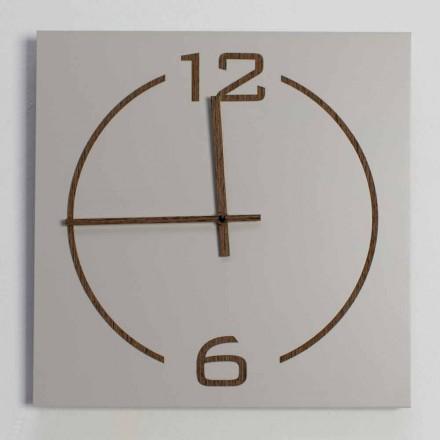 Wanduhr mit quadratischem und modernem Design in beige und braunem Holz - Tabata