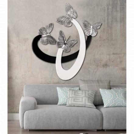Design Wanduhr Zenia elfenbeinfarben/schwarz handgefertigt in Italien