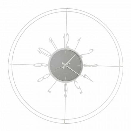 Runde Wanduhr aus weißem, schwarzem oder bronzefarbenem Eisen Made in Italy - Compass