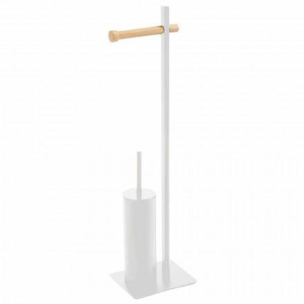 Toilettenbürste und Toilettenpapierhalter aus Metall und Holz Zelbio