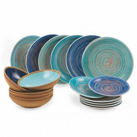 Farbige und moderne Teller 18 Stück in Steinzeug Kompletter Tischservice - Egadi