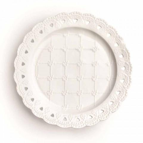 Bevorzugung Teller 12 Stück in weißem Porzellan Hand dekoriert - Rafiki