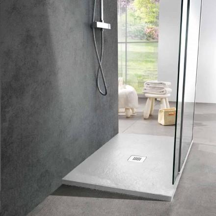 Duschwanne 100x70 in Weiß Resin Slate Effect Finish - Sommo