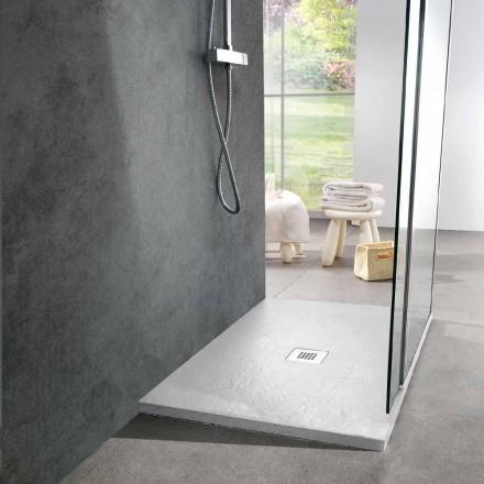 Moderne Duschwanne 90x70 in weißem Harzschiefereffekt - Sommo