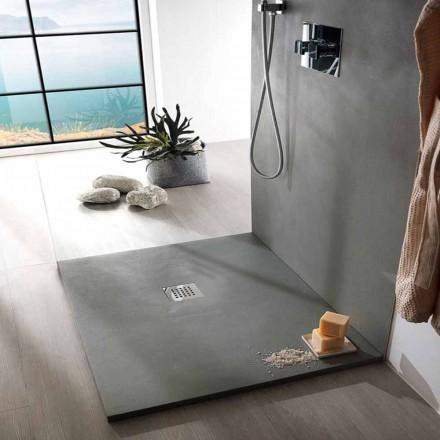 Quadratische Duschwanne 80x80 in modernem Design mit Harzbetoneffekt - Cupio