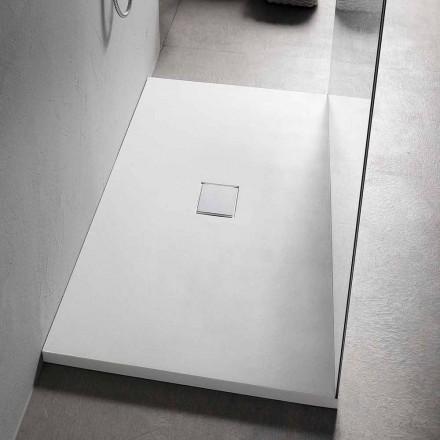 Rechteckige Duschwanne 160x70 cm in weißem Harz Modernes Design - Estimo