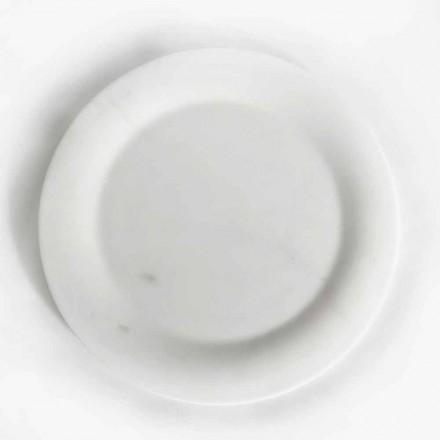 Flache Platte in glänzend weißem Statuenmarmor von Made in Italy Design - Brandy