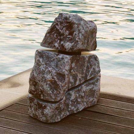 Gartenleuchte Stein aus Fior di Pesco Carnico Led Cross, Einzelstück