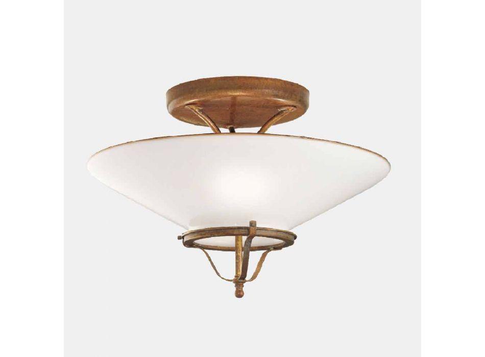 3-flammige Deckenlampe aus Messing und kegelförmigem Muranoglas - Country von Il Fanale
