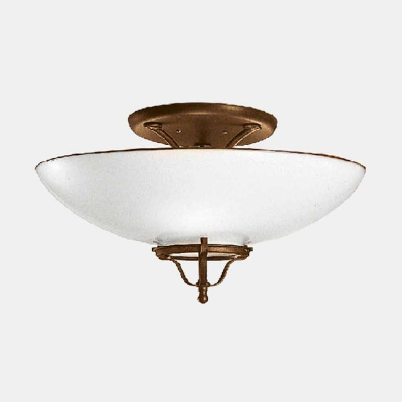3-flammige Deckenlampe aus Messing und Muranoglas Semisfera - Country von Il Fanale