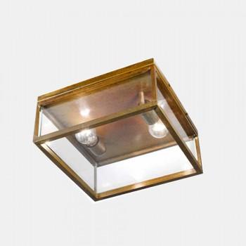 2-flammige Außen-Deckenlampe aus Messing und Vintage-Glas - Framework von Il Fanale