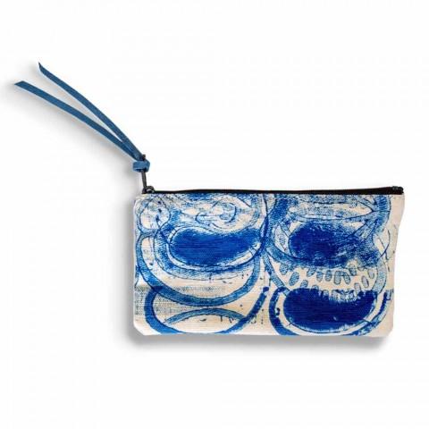 Handbedruckte einteilige Clutch aus Baumwolle, 2 Stück - Viadurini von Marchi