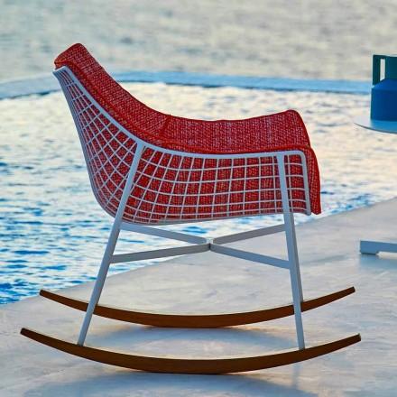 Schaukel-Gartensessel aus Stahl und Holz Varaschin Summer Set