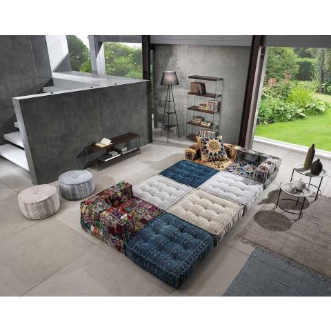 Chaise Longue Armchair von Ethnic Design aus Patchwork-Baumwolle für Wohnzimmer - Fiber