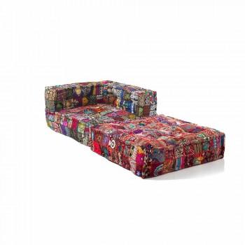 Chaise Longue Sessel aus Patchwork Baumwolle für Ethnic Design Lounge - Fiber