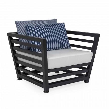 Outdoor-Sessel aus weißem oder schwarzem Aluminium und Stoffkissen - Cynthia