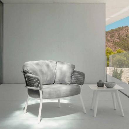 Moon Alu Talenti Outdoor-Sessel aus Seil, Aluminium und Stoff