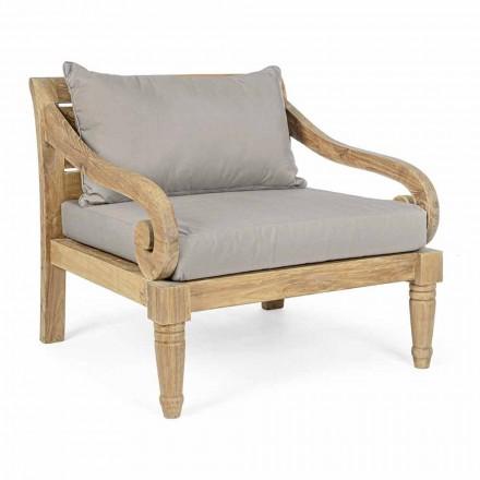 Outdoor-Sessel aus Teakholz mit Stoffkissen, Homemotion - Tatyana