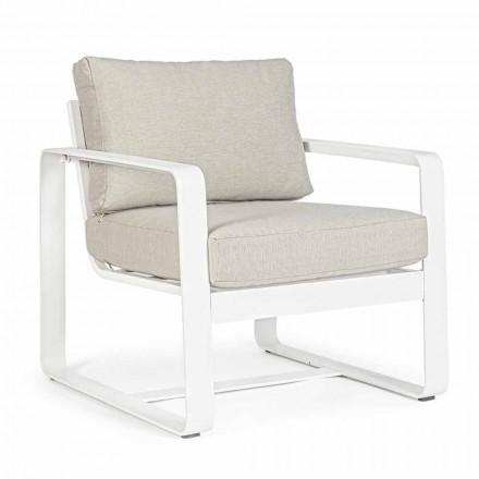 Outdoor-Sessel aus Stoff und weiß lackiertem Aluminium, 2 Stück - Marianna