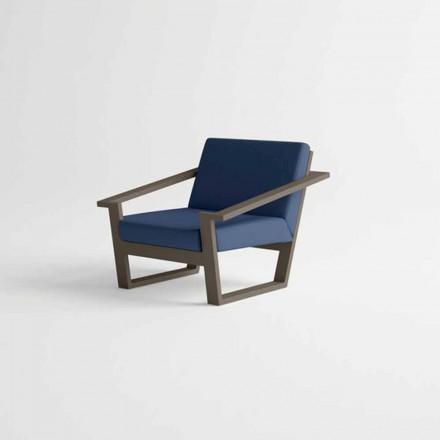 Gartenstuhl aus braunem Aluminium und blauem Stoffkissen - Louisiana2
