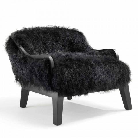 Kleiner Sessel Aus Leder Und Schwarzem Fell Made In Italy Design Eli