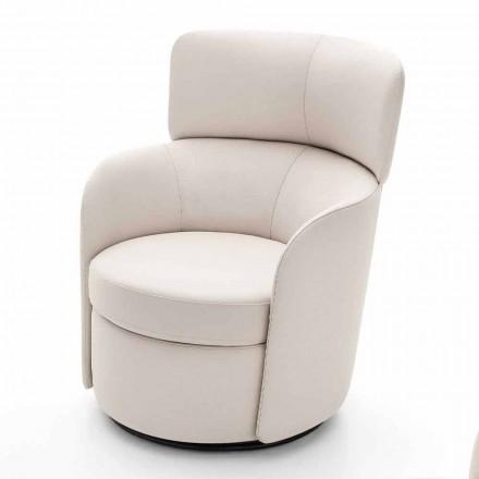 Drehbarer Wohnzimmer-Sessel aus Leder und Schwarzmetall Made in Italy - Mirtillo