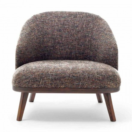 Stoff Lounge Chair mit Massivholzsockel Made in Italy - Pepina