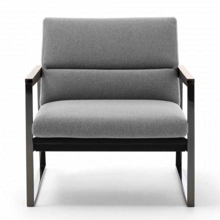 Wohnzimmer Sessel aus Stoff, Leder und Edelmetall Made in Italy - Milla