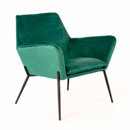 Moderner Lounge Chair aus petrolgrünem Samt und schwarzem Metall - getönt