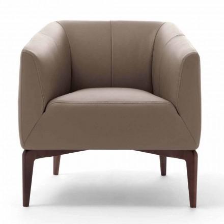 Wohnzimmer Sessel in Leder gepolstert mit Holzbeinen Made in Italy - Maira