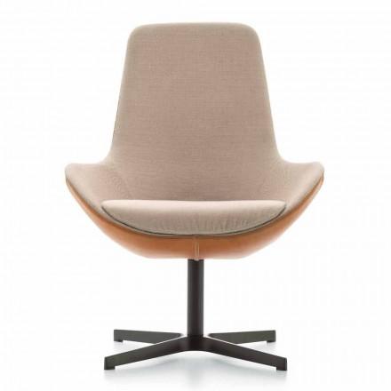 Wohnzimmer Sessel aus Leder und Stoff mit Drehsockel Made in Italy - Ama