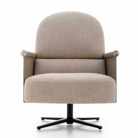 Wohnzimmer Sessel aus Stoff, Leder und Metall Made in Italy - Camomilla