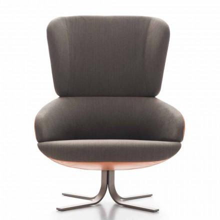 Wohnzimmer Sessel aus Stoff und Leder mit Drehsockel Made in Italy - Liana