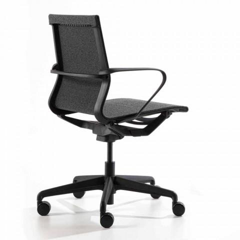 Büro-Sessel mit Gaslift aus anthrazitfarbenem technischen Stoff - Selia