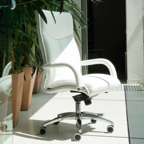 Drehbarer Chefsessel aus Leder und Kunstleder - Oliviero