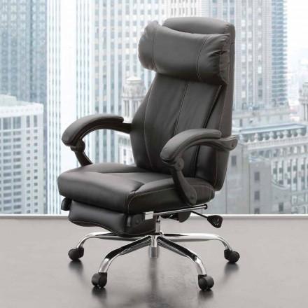 Drehbarer und verstellbarer Bürosessel aus schwarzem Kunstleder - Nazzareno