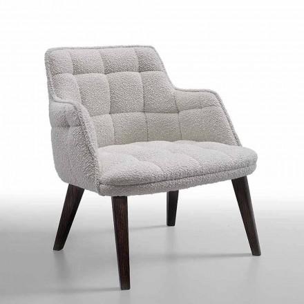 Luxus-Sessel aus Stoff mit Holzbeinen Made in Italy - Clera